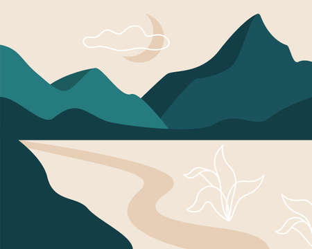 Abstract landscape. Moon, mountains, clouds, river, plants. Asian design. Background with space for text vector illustration banner poster