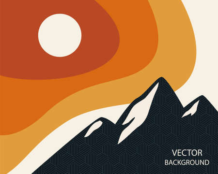 Abstract landscape. Sun, mountains, waves. Japanese style. Fashionable modern colors. Background with space for text. Modern layout. vector illustration, banner poster template