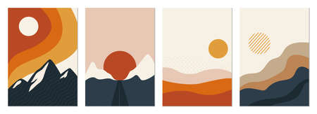 Collection of rectangular abstract landscapes. Sun, mountains, waves. Japanese style. Modern layouts, fashionable colors. Layouts for social networks, banners, posters vector illustration