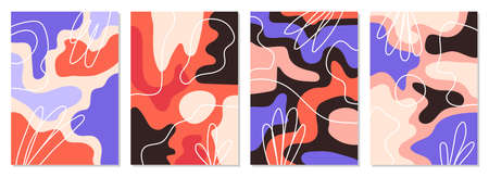 A set of posters with abstract figures and doodles. modern graphic design. Perfect for social media, poster, cover, invitation, brochure. Rectangular backgrounds, vector. 일러스트