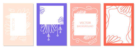 A set of posters with abstract figures and doodles. modern graphic design. Perfect for social media, poster, cover, invitation, brochure. Rectangular backgrounds, vector. Illustration