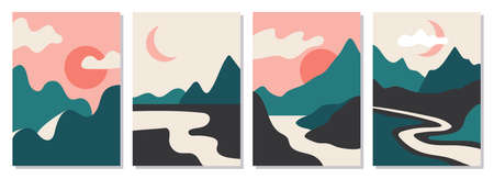 A set of rectangular abstract landscapes. Sun, Moon, mountains, clouds, rivers, plants. Asian design. Japanese motives. Layouts for social networks, ads, banners posters vector illustration Çizim