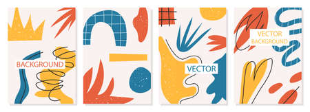 A set of backgrounds with abstract shapes and forms, modern graphic design. Perfect for social media, poster, cover, invitation, brochure. Modern fashion Vector illustration.