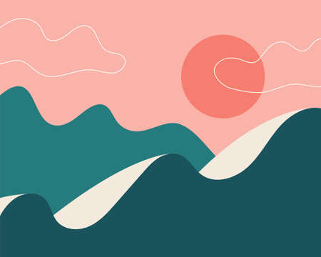 Abstract landscape. Sun, mountains, clouds. Japanese motives. Asian design. Background with space for text, vector illustration banner poster 向量圖像