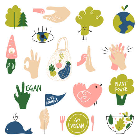 The concept of animal protection, veganism, saving the planet. Elements for a website, postcards, posters, stickers, bloggers, and social networks. Drawn elements on the theme of veganism. Vector illustration
