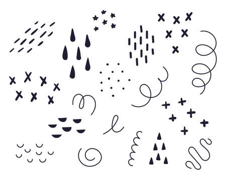 Vector set of different doodles. Doodles on a white background, stars, lines, swirls, shapes, crosses, drops dashes