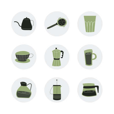 Set with hand-drawn coffee accessories. Round stickers with teapots, Cup, glass. Vector illustration