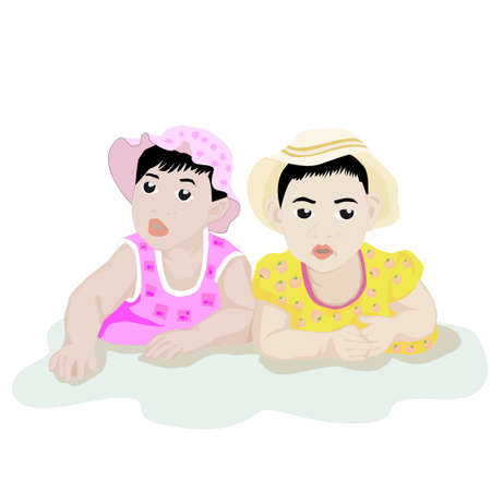 papoose: Illustration of infants playing together on white background. Illustration