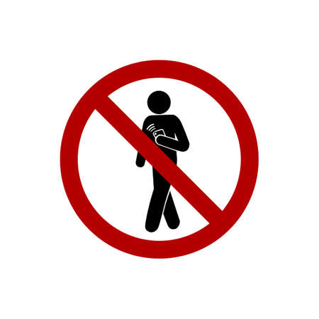 cell phones not allowed: No using smartphone while walking sign isolated on white background. Illustration