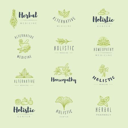 alternative medicine: Vector trendy hand drawn alternative medicine, homeopathy , badges, emblems.