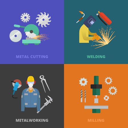 lathe: Vector metalworking icons, concept. Metal cutting, welding, lathe work.