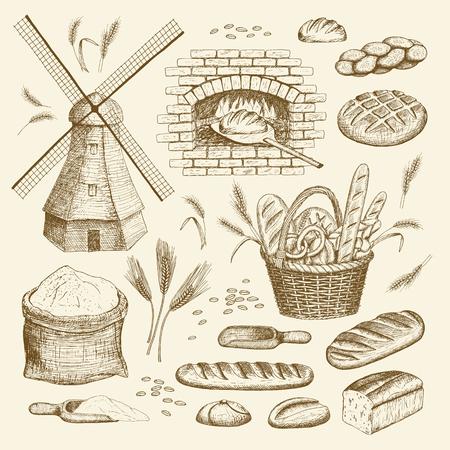 Wektor ręcznie narysowany kolekcji piekarni. Wiatrak, piekarnik, chleb, kosz, mąka, pszenica.