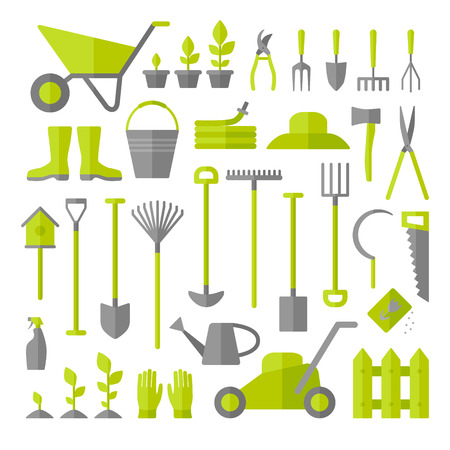 gardening hose: Vector big collection of gardening tools isolated on white background. Rack, pitchfork, hose, wheelbarrow, watering can, cutter, fork, lawn, pruner, secateurs, shovel, spade and more.