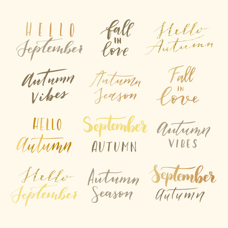 mindful: Vector hand drawn hello september, hallo autumn, autumn vibes, fall in love, autumn season phrases. Modern calligraphy quote collection.