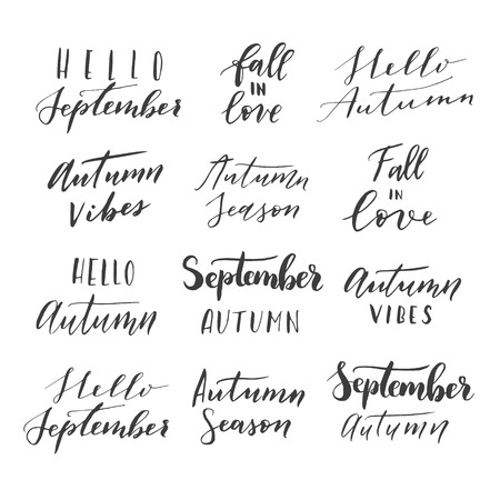 ... Hello September, Hallo Autumn, Autumn Vibes, Fall In Love, Autumn  Season Phrases. Modern Calligraphy Quote Collection. Isolated On White  Background.