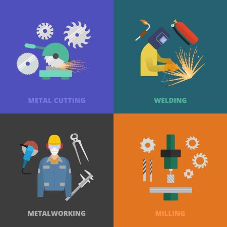 steelmaker: Vector metalworking icons, concept. Metal cutting, welding, lathe work.