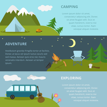Vector camping template, layout, concept. Includes tent, guitar, axe, fir-tree, mountains, chair, moon, travel boots, cauldron, bonfire.