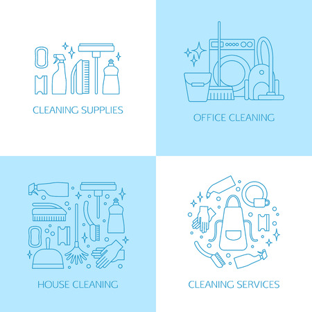 wipe: Vector trendy flat cleaning icon set, emblems. Vacuum cleaner, protective gloves, plunger, spray bottle,  wipe, squeegee, sponge, bucket, mop, brush, duster and many more.