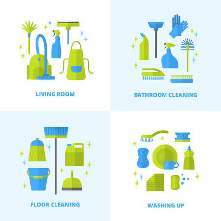 brush cleaner: Vector trendy flat cleaning icon set. Vacuum cleaner, protective gloves, plunger, spray bottle,  wipe, squeegee, sponge, bucket, mop, brush, duster and many more.