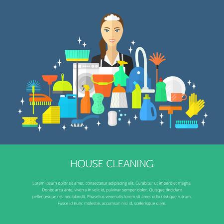 lavar platos: Vector conjunto de moda de limpieza plana icono, plantilla, concepto. aspiradora, guantes de protección, émbolo, botella de spray, limpiar, escobilla de goma, esponja, cubo, fregona, cepillo, plumero y muchos más.