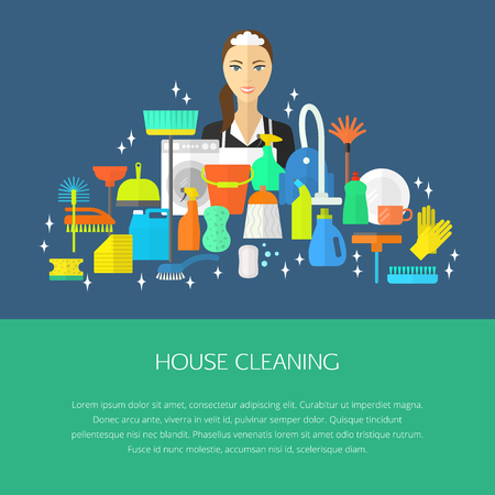 dishwashing liquid: Vector trendy flat cleaning icon set, template, concept. Vacuum cleaner, protective gloves, plunger, spray bottle,  wipe, squeegee, sponge, bucket, mop, brush, duster and many more. Illustration