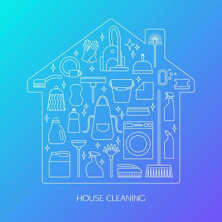 brush cleaner: Vector trendy flat cleaning icon set. Includes vacuum cleaner, protective gloves, plunger, spray bottle, wipe, squeegee, sponge, bucket, mop, brush, duster and many more.