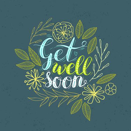 """Vector letras de la mano """"Que te mejores pronto"""" tarjeta decorada con flores dibujadas a mano."""