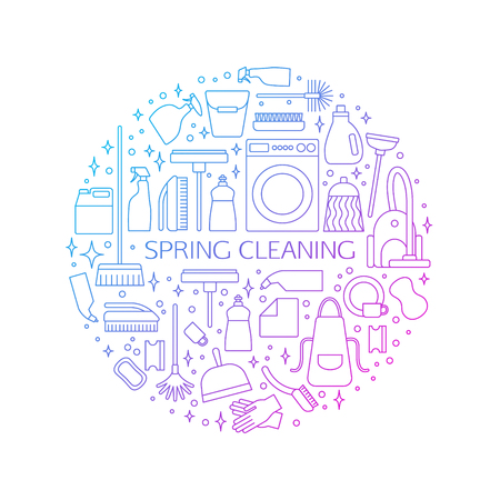 spring cleaning: Vector trendy flat cleaning icon set, Spring cleaning concept, poster. Vacuum cleaner, protective gloves, plunger, spray bottle,  wipe, squeegee, sponge, bucket, mop, brush, duster and many more.