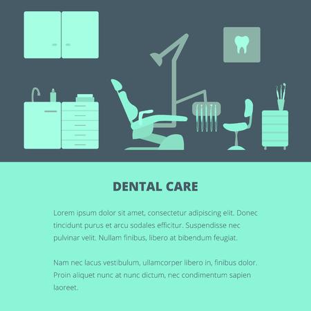 dental chair: Vector dental care concept, template, layout. Dental chair, dentist tools, dentist office.