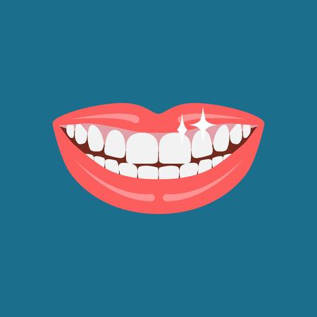 Vector dentist smile. Beautiful human smile illustration.