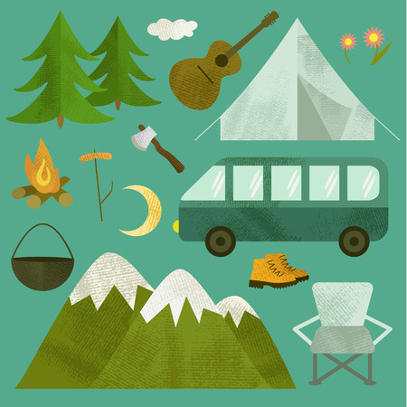 Vector camping icons set. Includes tent, guitar, van, axe, fir-tree, mountains, chair, moon, travel boots, cauldron, bonfire.