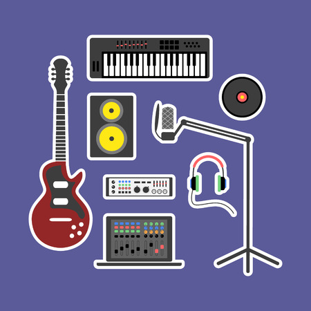 synthesizer: Vector music production flat icon set. Speaker, laptop, headphones, microphone, amplifier, plate, synthesizer, electric guitar. Illustration