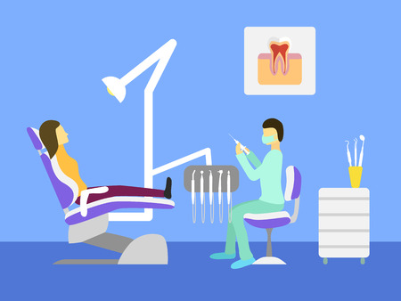 dental chair: Vector dentist office. Dental chair, dentist tools, doctor, patient. Illustration