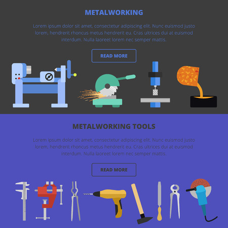 Vector iconos para trabajar los metales, el concepto. fundición de metales, corte, herramientas, trabajo de torno.