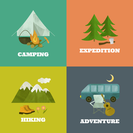 moon chair: Vector camping template, layout, concept. Includes tent, guitar, axe, fir-tree, mountains, chair, moon, travel boots, cauldron, bonfire.