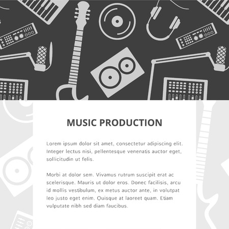 synthesizer: Vector music production template, layout. Speaker, laptop, headphones, microphone, amplifier, plate, synthesizer icons. Includes two patterns.