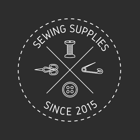sewing label: Sewing shop logo. Sewing supplies label, emblem.