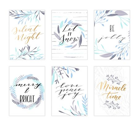 silent night: Vector hand drawn modern cards. Trendy hand written calligraphy postcard. Elegant calligraphic quotes and phrases. Silent night. Let it snow. Be jolly. Merry and Bright. Love peace joy. Miracle time.