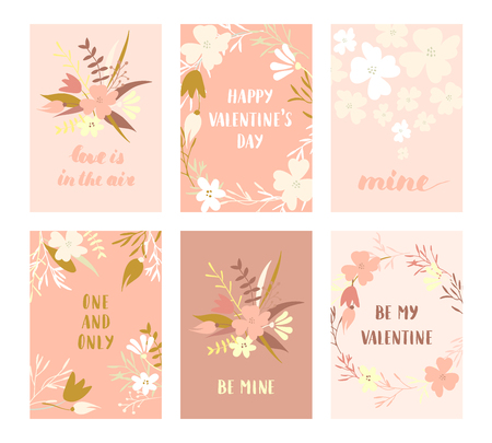 Vector modern love cards, posters for Valentines Day or date, wedding. Hand lettering, flower wreaths.