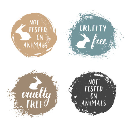 cruelty: Vector set of Not Tested On Animals and Cruelty Free badges labels emblems stamps. Illustration