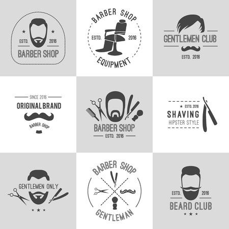 barber scissors: Vector hipster barber shop logos, badges. Beards scissors moustache razor,