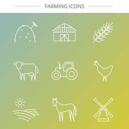 hay field: Vector agriculture, farming line icons. Barn wheat hay tractor field cow windmill chicken horse.
