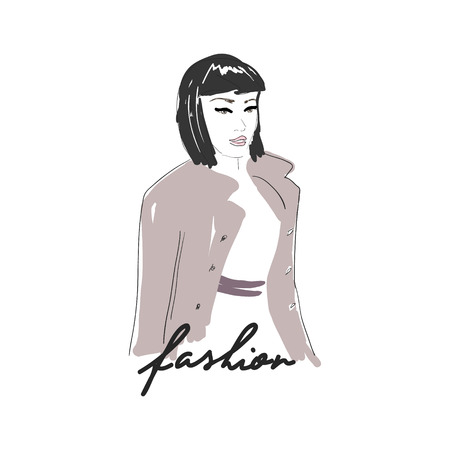 short haircut: Vector hand drawn trendy fashion illustration. Young glamourous woman with short haircut. Concept for poster, magazine, website or card.