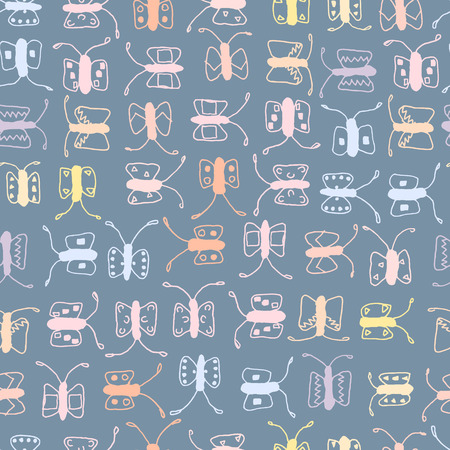 Batterfly seamless vector pattern, background and backdrop. Illustration