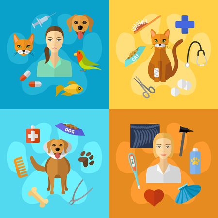 Vector veterinary icons set. Cat dog fish parrot doctors pets medical tools. Illustration