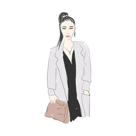 glamorous woman: Vector hand drawn trendy fashion illustration. Young glamorous woman character. Concept for poster, magazine, website or card. Illustration