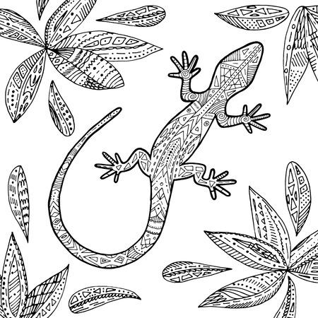 Ilustración Tropical Del Lagarto Del Vector Para El Libro De ...