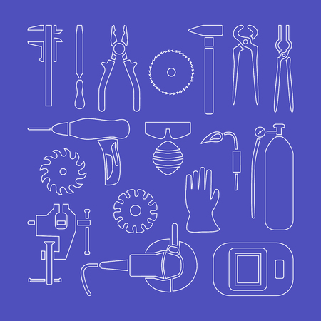 metalworking: Vector metalworking flat line icons set, collection.