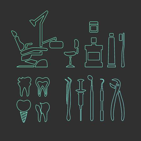 mouthwash: cuidado dental vector de iconos de la forma. sillón dental, enjuague bucal y pasta de dientes. Herramientas del dentista.