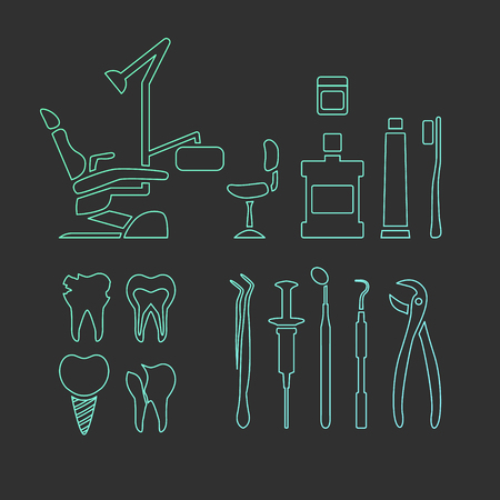 mouthwash: Vector dental care thin line icons. Dental chair, mouthwash and toothpaste. Dentist tools. Illustration